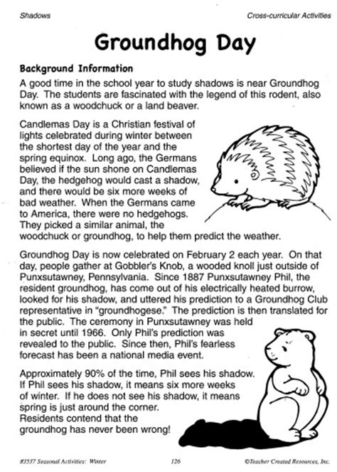groundhog day history groundhog day activities science experiments patterns