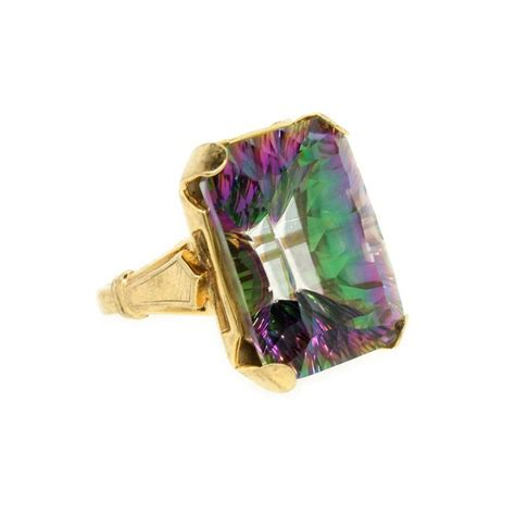 emerald cut mystic topaz ring