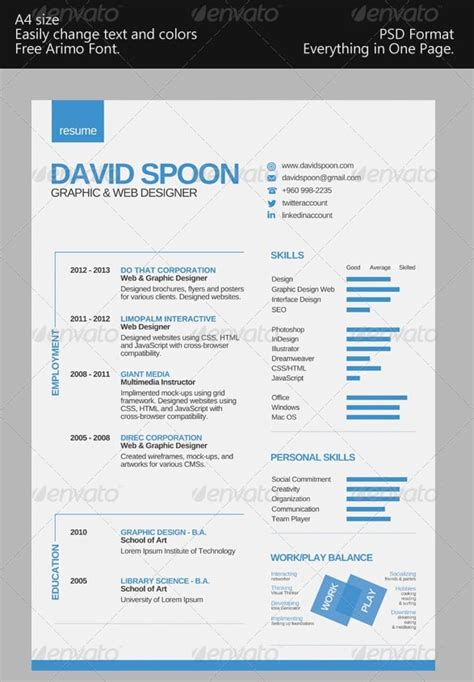 resume templates one page awesome free resume cv templates 56pixels