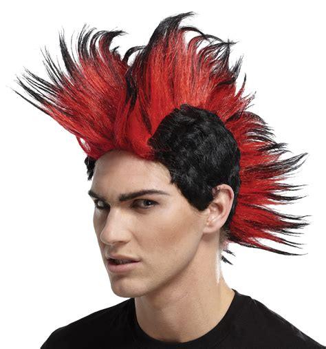 mohawk with hairpiece double mohawk wig black red bl halloween costumes from