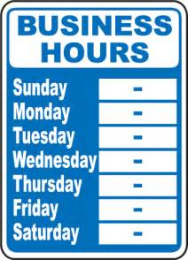 business hours template business hours week sign by safetysign r5513