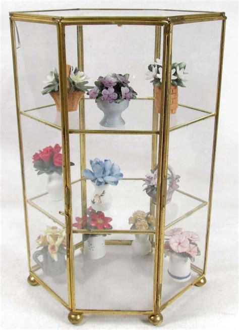 small glass display cabinet small glass display case w miniature porcelain flowers