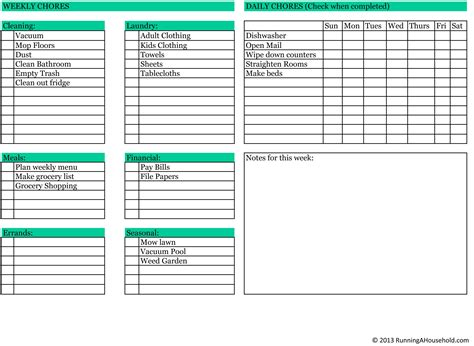household chores printable weekly checklist running