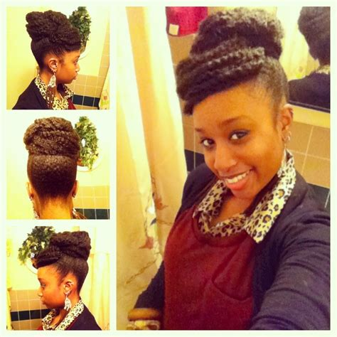 markey hair bun style faux bun with bangs achieved with marley braiding hair