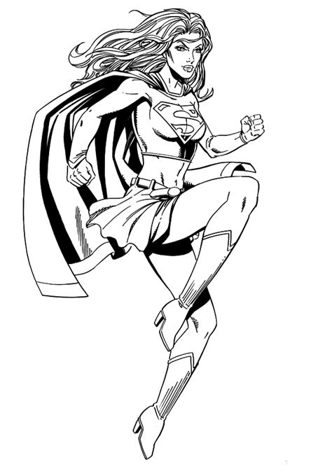 Supergirl Clipart Black And White Clipartsgram Com Supergirl Coloring Pages