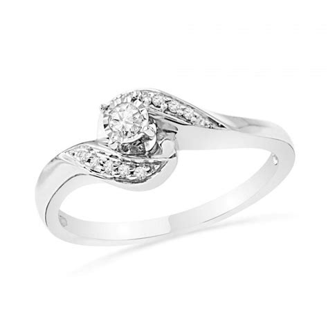 promise ring in sterling silver or white gold ring