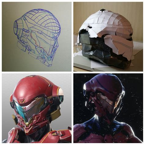 Papercraft Halo Helmet - halo 5 copperhead helmet pepakura by rainyfire on deviantart