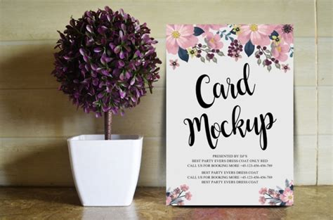 wedding card psd mockup  designhooks