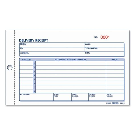 delivery receipt template rediform delivery receipt book quickship