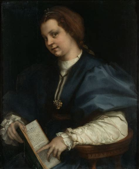 Florence Syari andrea sarto with a book of petrarch s poetry 1528 uffizi museum florence