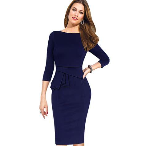 work dresses 2015 fashion peplum dress purple blue date