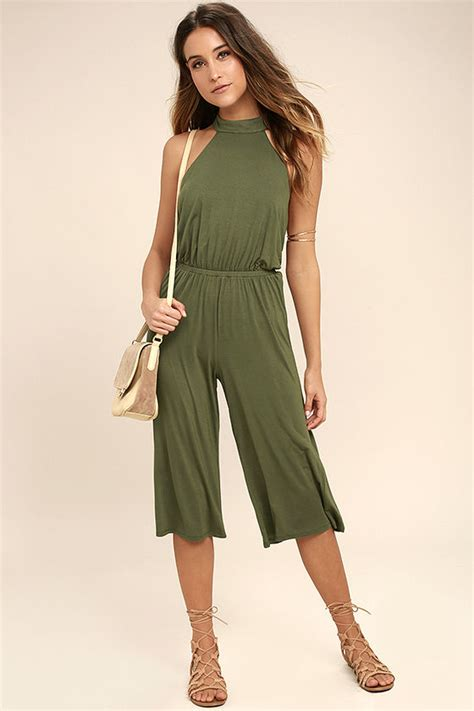 Midi Jumpsuit chic olive green jumpsuit midi jumpsuit halter jumpsuit backless jumpsuit 46 00