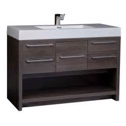 47 quot modern wall mount bathroom vanity set grey oak free
