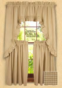 Country Swag Curtains Cottage Wheat Minicheck Ruffled Window Curtain Swags