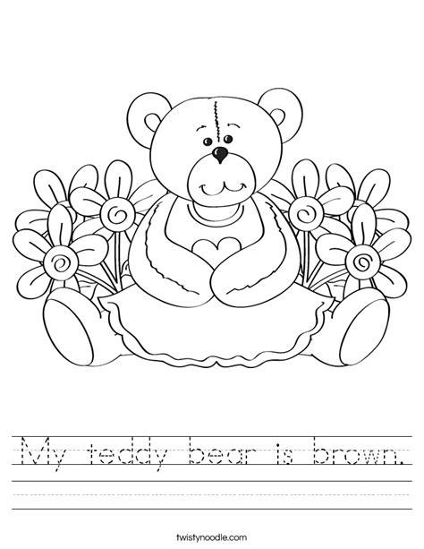 My Teddy Bear Is Brown Worksheet Twisty Noodle Brown Printable Coloring Pages