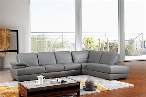 Gray Modern Sofa 208ang Modern Grey Italian Leather Sectional Sofa