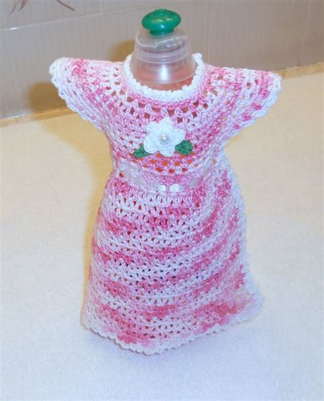 apron pattern for dishwashing liquid bottle pink and white dish soap bottle dress crochet kitchen