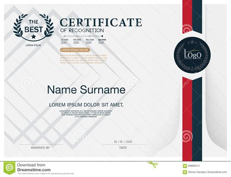 certificate of recognition frame design template layout