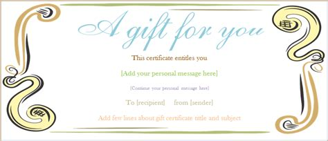 Editable Gift Certificate Template Free by Editable Gift Certificate Template