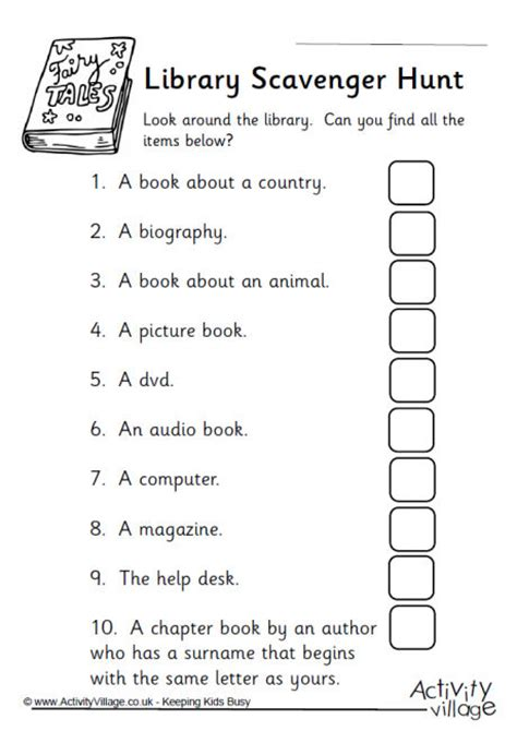 Library Skills Worksheets by Library Scavenger Hunt