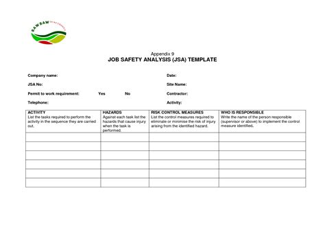 free jsa template hazard safety analysis chainimage