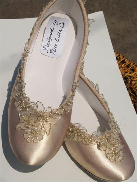 Gold Bridal Flats by Chagne Wedding Flats Bridal Shoe Elegantly Gold Trimmed