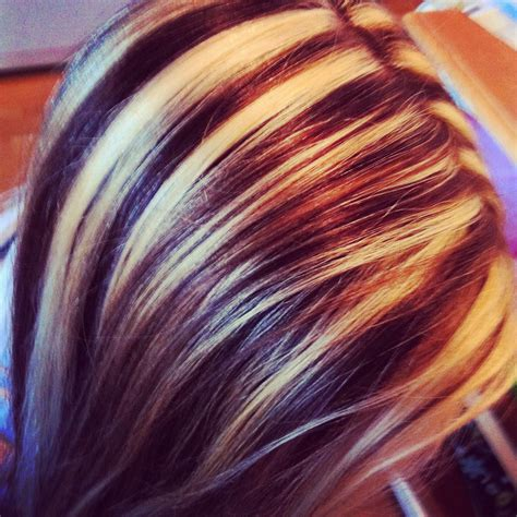 1000 images about highlights hair on pinterest chunky my friends hair i did chunky blonde and brown sliced high