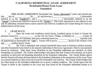 california residential tenancy lease agreement california