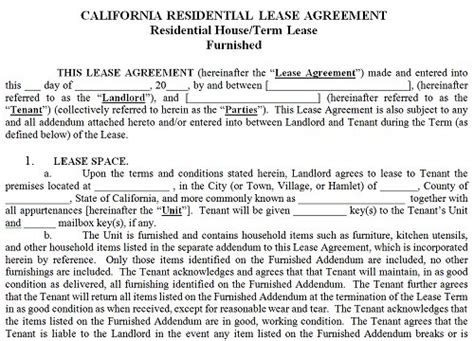 California Residential Tenancy Lease Agreement California Rental Agreement Rental Agreement Template California