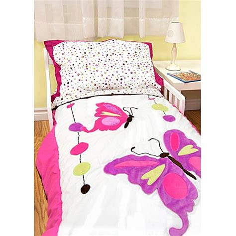 Butterfly Toddler Bedding Set Buy Baby S By Nemcor 4 Butterfly And Jewels Toddler Bedding Set From Bed Bath Beyond