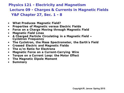 Magnetic Field Research Paper by Physics Electricity And Magnetism Lecture 09 Charges Currents In Magnetic Fields Y F Chapter