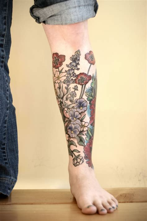 lower leg sleeve tattoo designs kirstenmakestattoos progress on a floral lower leg
