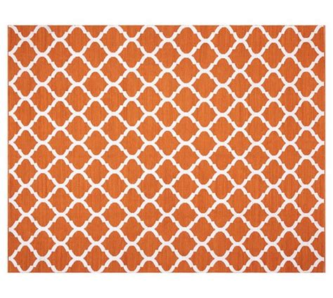 Becca Tile Reversible Indoor Outdoor Rug Orange Pottery Barn Indoor Outdoor Rug