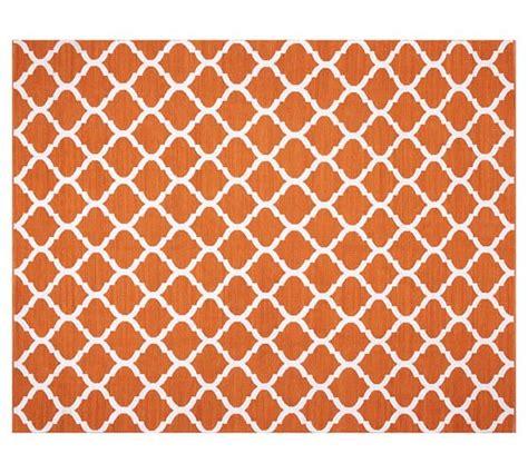 Orange Indoor Outdoor Rug Becca Tile Reversible Indoor Outdoor Rug Orange Pottery Barn