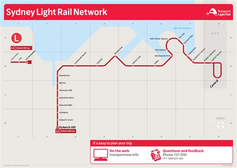 Light Rail Times by Official Map Sydney Light Rail Network 2014