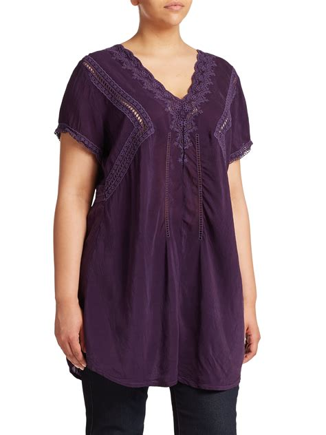 V Neck Embroidery Tunic 4350 johnny was embroidered v neck tunic in purple lyst
