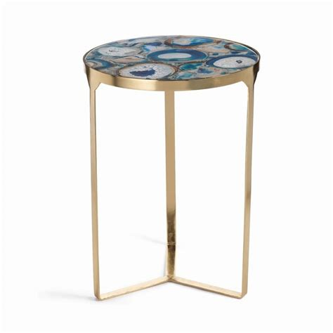zodax la sardaigne blue agate end table in gold in 5827