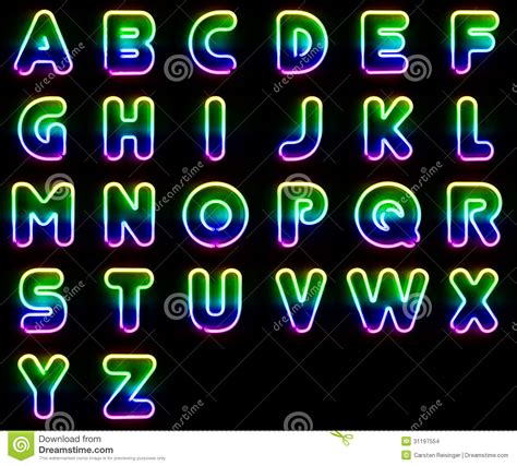 printable neon letters colorful neon letters stock illustration illustration of