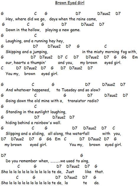 printable lyrics for brown eyed girl brown eyed girl van morrison guitar tutorial video