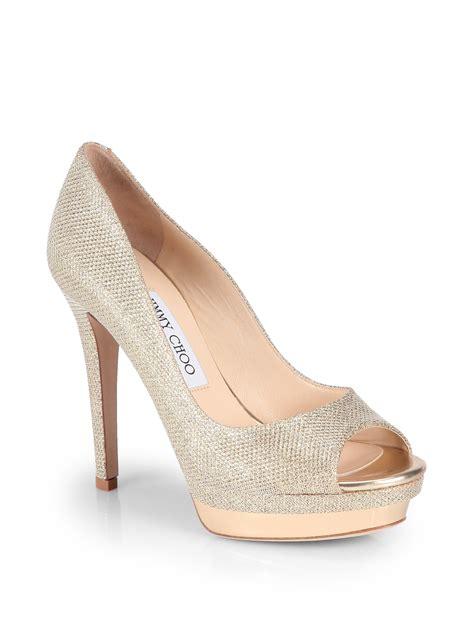 Peep Toe Shoes From Tuk by Lyst Jimmy Choo Tayten Glitter Lam 201 Peep Toe Pumps In