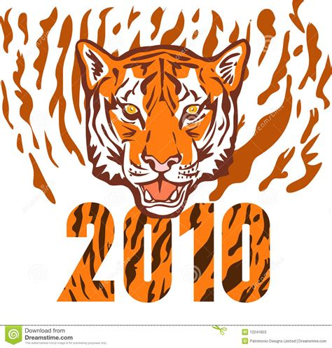 new year tiger new year 2010 year of the tiger stock illustration image