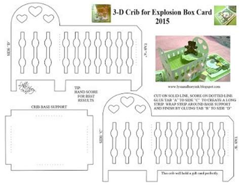 3d baby card templates lysa huey ink crib explosion box templates