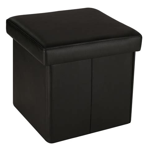 Upholstered Cube Storage Ottoman Square Faux Leather Upholstered Folding Storage Ottoman Cube Footrest Stool Seat Ebay