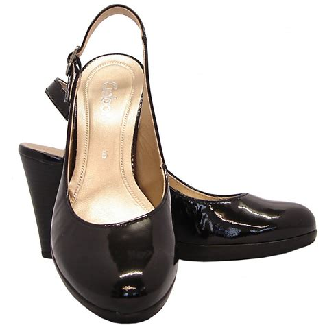 gabor shoes cadarwood womens slingback in black patent