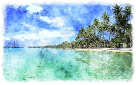 paint island watercolor tropical island