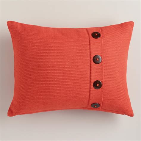 persimmon pillows persimmon basketweave lumbar pillow with button world market