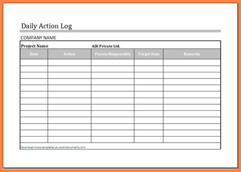 daily log template 6 daily work log templates bussines 2017