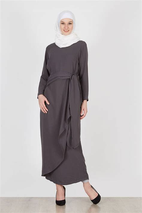 sell yuka dress plain grey dresses and jumpsuit hijabenka