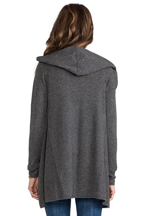 hooded drape cardigan lyst vince cashmere lux hooded drape cardigan in