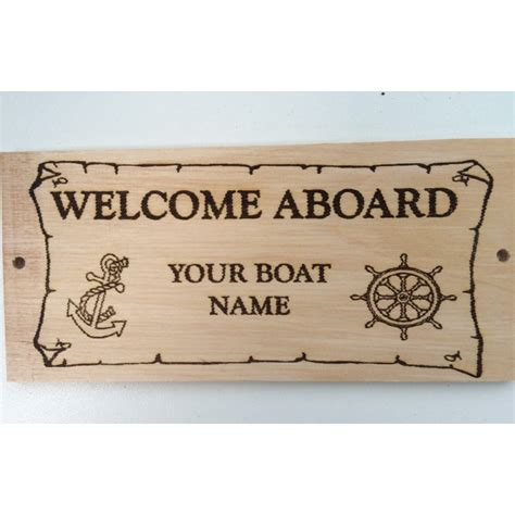 wooden boat name plaques personalised welcome aboard plaque boat sign